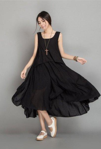 svart maxi luftig pansar klänning