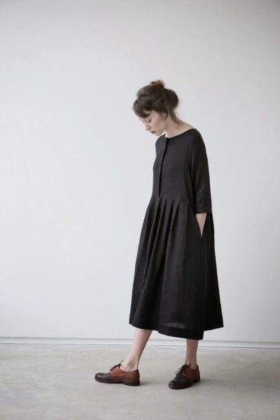 svart midi swing klänning brun oxford skor