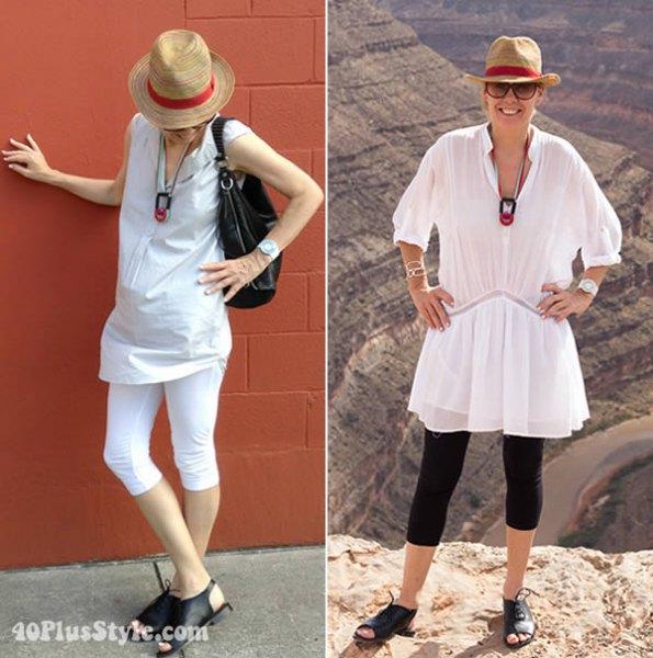 vit ärmlös linblus med V-ringning och capri-leggings