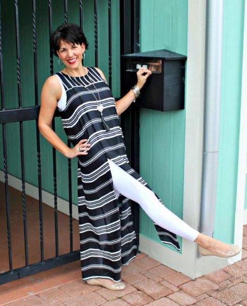 svartvit randig maxi hög split klänning med leggings