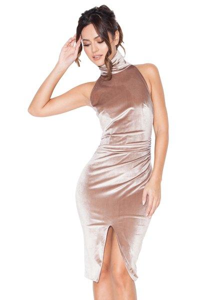 Roséguld turtleneck ärmlös, figur-kramande sammet klänning