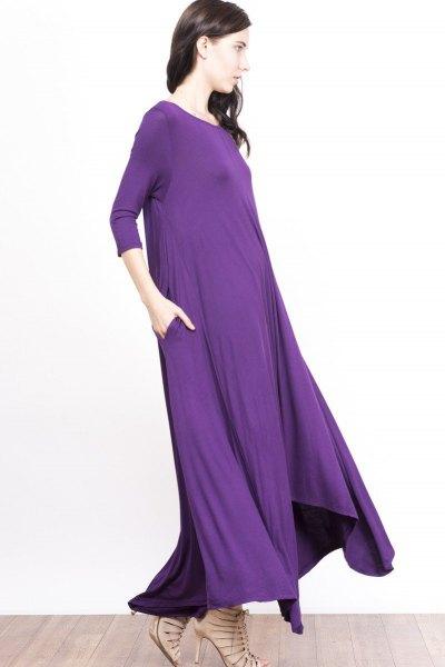 purpurfärgad trekvartärmad skiftklänning i golv med kala remmar