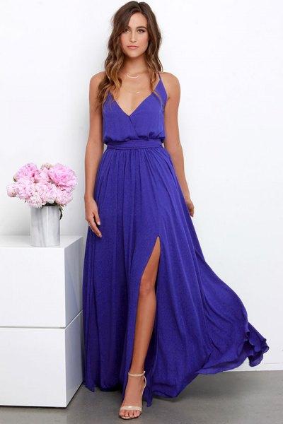 lång lila djup v-ringning rynkad midja hög split flödande klänning