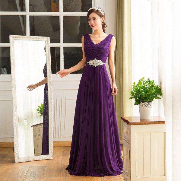 djuplila golvlång lång klänning med V-ringning och bälteärmar