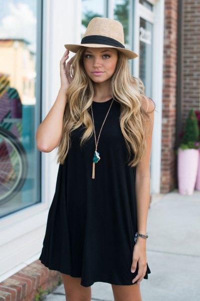 svart tank swing klänning stråhatt