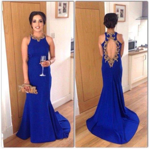 ärmlös kungsblå klänning med öppen rygg