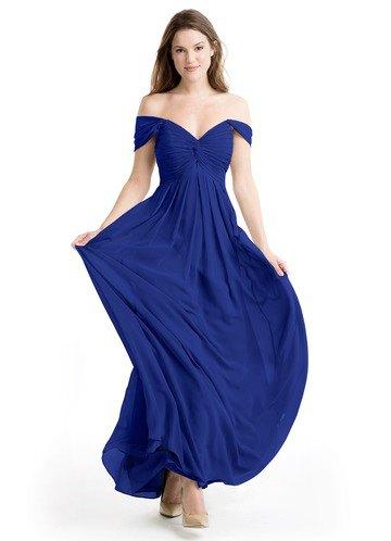 Älskling halsringning passform och flare kungsblå klänning