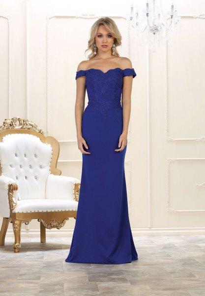 Älskling halsringning sjöjungfru kungsblå golvlång klänning