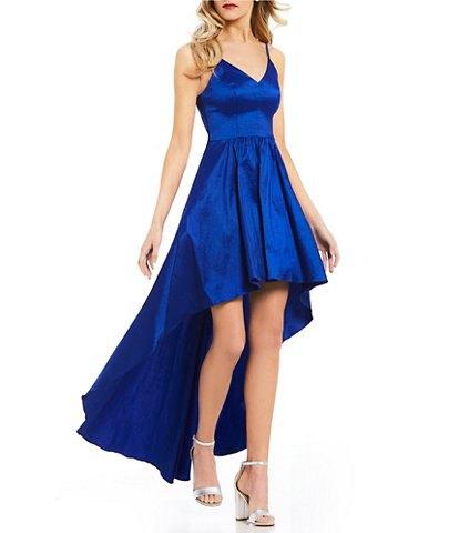 kungsblå siden med V-ringning och fläckad hög-låg klänning