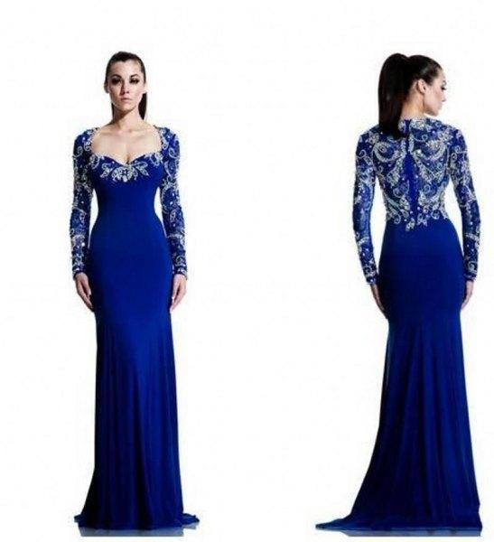 Kungsblå och silver golvlång flytande chiffongklänning med V-ringning