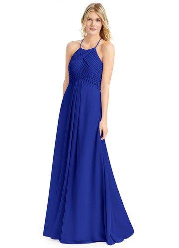 Kungsblå klänning med spagettiband och silver, klackar med öppen tå