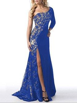 en axel kungsblå och silver paljett hög slits klänning