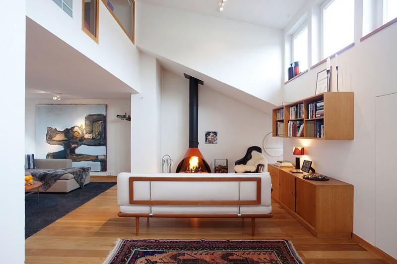 Skandinavisk design: Ljus lägenhet i öppen planlösning i Stockho