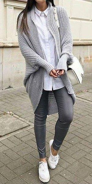 Chunky tunika stickad tröja kofta med longline vit skjorta