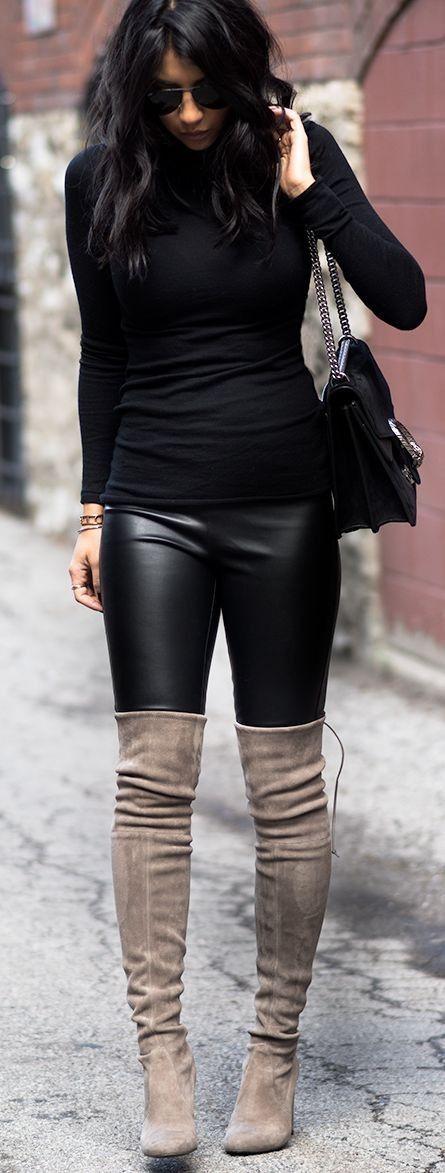 svarta byxor grå stövlar