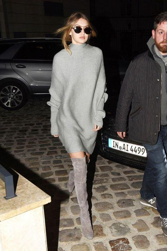 grå klänning grå lårhöga stövlar