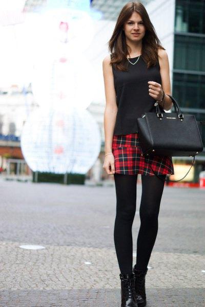 svart ärmlös leggings outfit