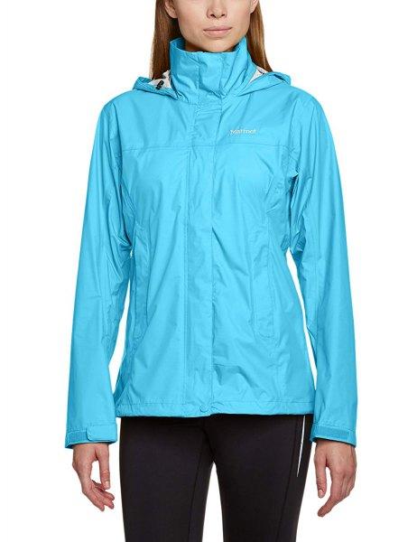 himmelblå nylontröjajacka med svarta joggebyxor