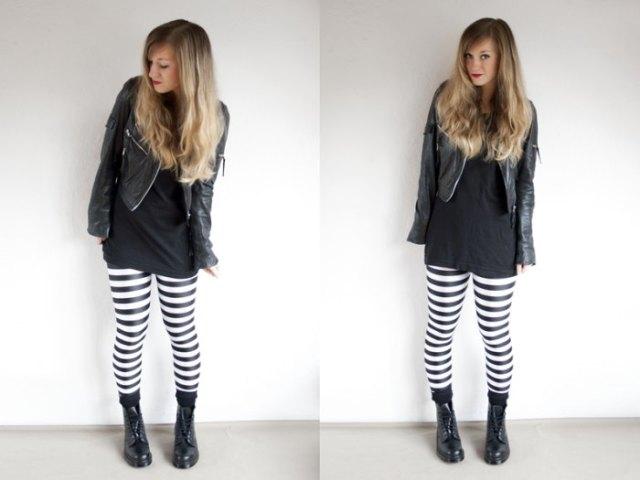 Tunika T-shirt med läderjacka och horisontellt randiga svartvita leggings
