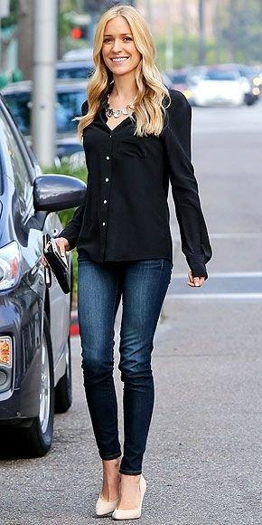 svart skjorta med knappar, mörkblå jeans och vita klackar