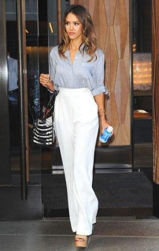 grå, rodnadskjorta med vit kostymbyxa