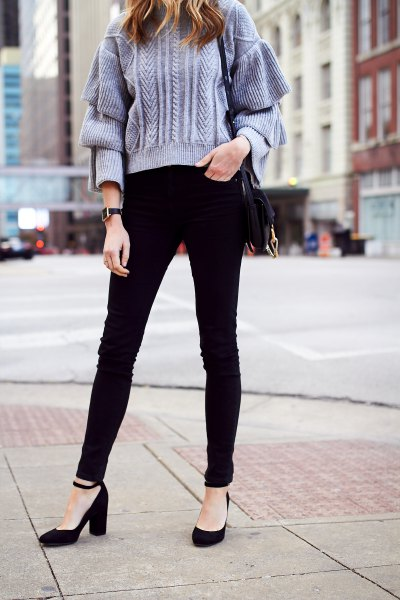 Tiffany Blue Chunky Stickad tröja svart ankelrem klackar