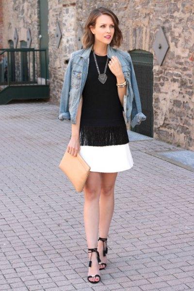 svart öppen tå ankelrem häl vit skridsko kjol