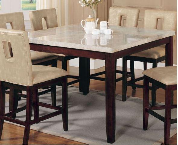 Britney Counter Height Table i vit marmorvalnöt Acme möbler.
