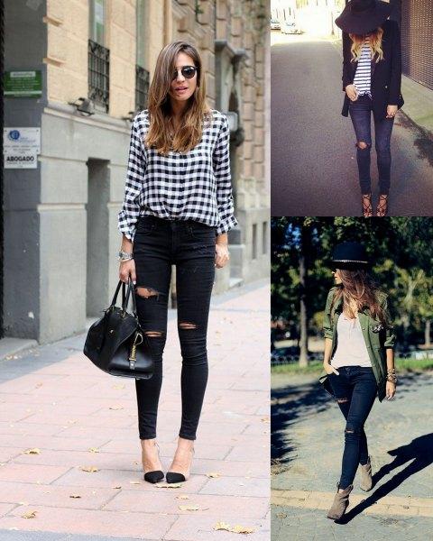 rutig skjorta med knappar och svarta skinny jeans