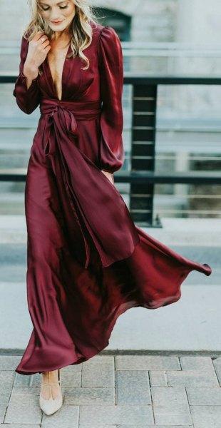 burgundy lång wrap klänning