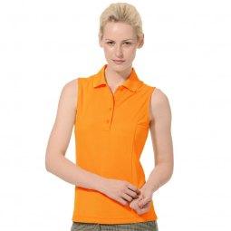 ljus orange ärmlös polotröja med grå randiga byxor
