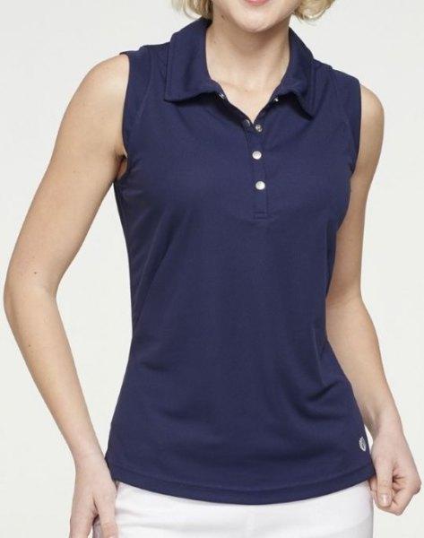 Mörkblå, ärmlös polotröja med smal passform och vita byxor