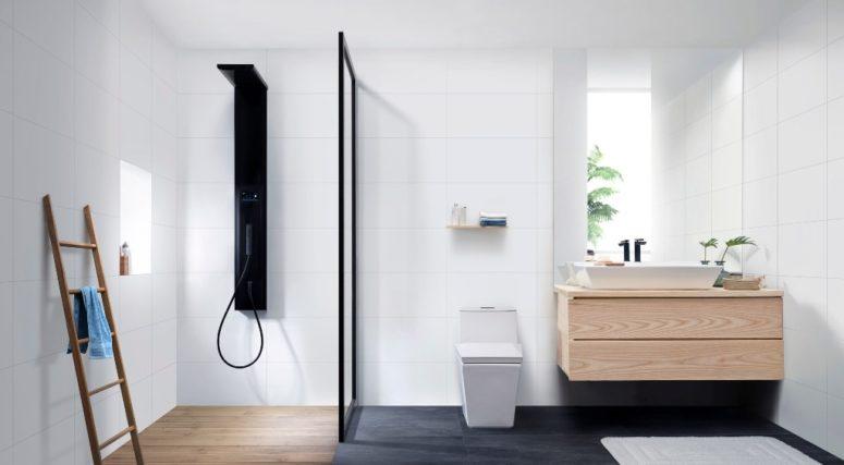 Minimalistisk Skive-badrumssamling med en skandinavisk känsla.