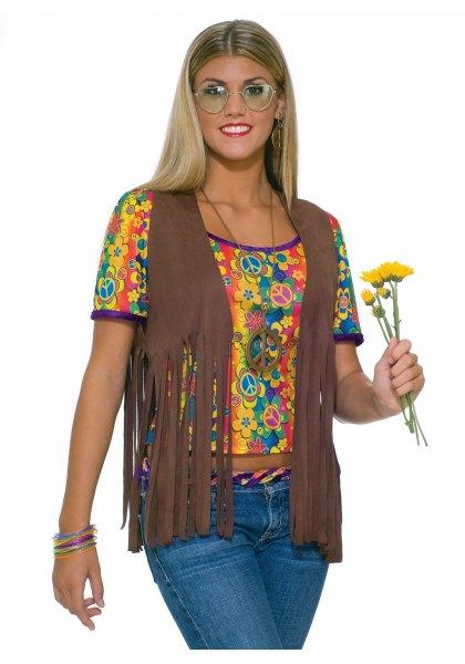 Camel hippie fransad väst med kort snitt t-shirt med gult tryck