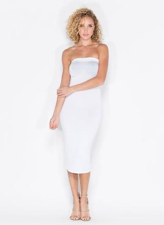 vitt rör midi bandage klänning med klackar med öppna tå