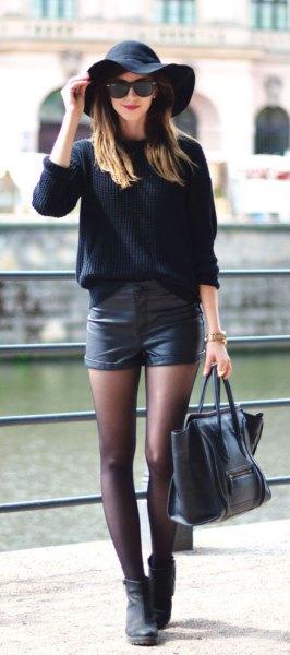 Floppy hatt svarta lädershorts