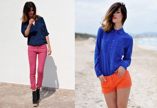kungsblå skjorta med knappar och orange shorts