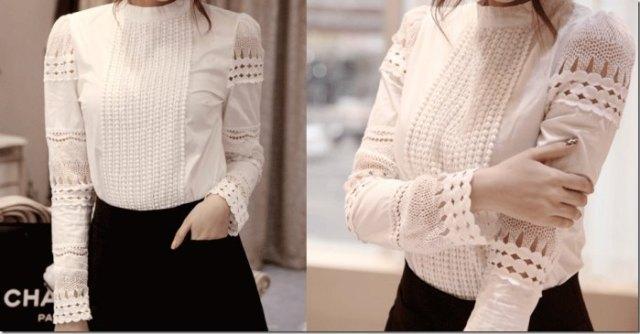 vit virkad spets linne skjorta svart kjol
