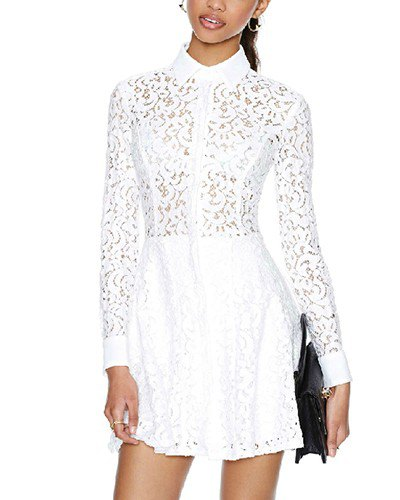 vit toppknappskjortklänning