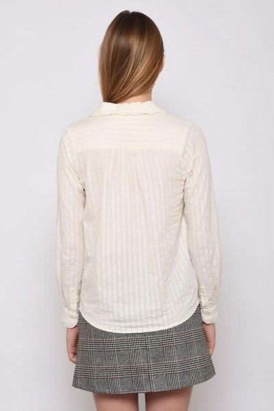 vit randig spetsskjorta tweed minirater kjol