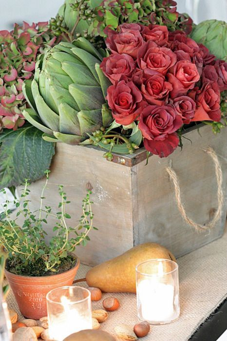 34 Rustika grönsaker och örter Tablescape Idéer (med bilder.