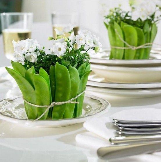 Rustika grönsaker och örter Tablescape Idéer |  Grönsak dekoration.
