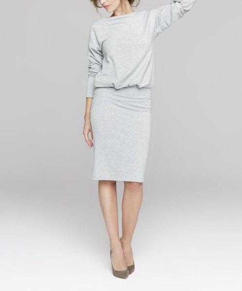 grå knälång blouson långärmad tröja klänning