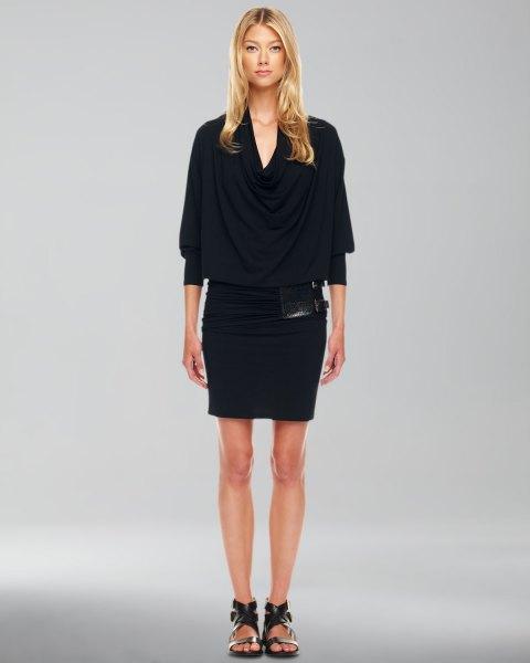 svart figur-kramar blouson miniklänning med halva ärmar
