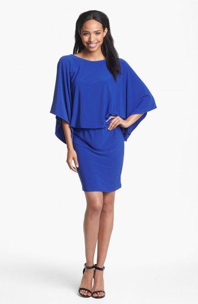 Kungsblå mini-blousonklänning