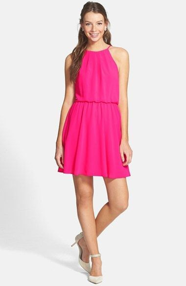 neonrosa blouson skater klänning