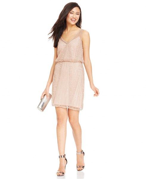 blush pink cami blouson miniklänning