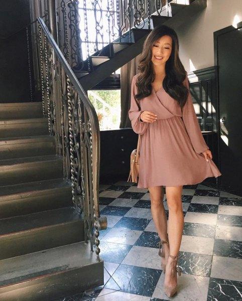 rosa wrap blouson skater klänning