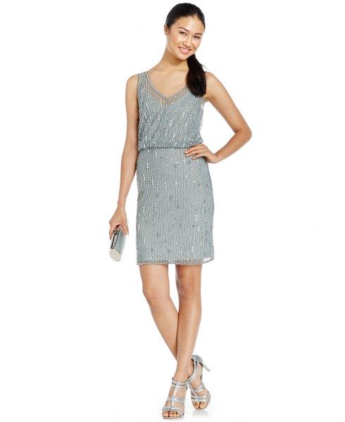 grå blouson mini klänning silver paljetter detaljer