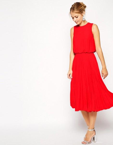 röd blouson veckad midiklänning